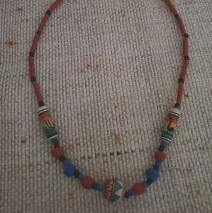 Vintage SW Unisex Handpainted Clay Beaded Necklace